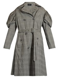 Simone Rocha Prince Of Wales Checked Trench Coat Grey Multi
