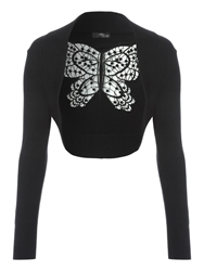 Jane Norman Crochet Butterfly Back Shrug Black