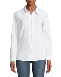 Haute Rogue Sara Looped Button Front Poplin Blouse White