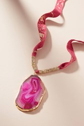 Anthropologie Agate Pendant Necklace Raspberry