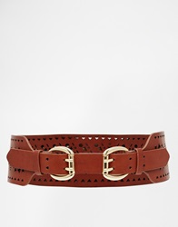 New Look Double Buckle Wide Waist Belt Tan