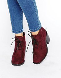 London Rebel Lace Up Mid Heel Boots Burgundy Red