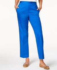 Alfred Dunner Petite Upper East Side Pull On Straight Leg Pants Cobalt