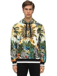 Dolce And Gabbana Printed Cotton Jersey Sweatshirt Hoodie Multicolor