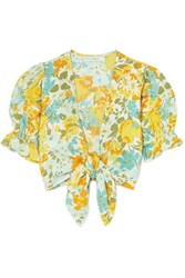 Faithfull The Brand Jamais Cropped Tie Front Floral Print Linen Top Yellow