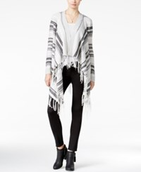Almost Famous Juniors' Striped Fringe Waterfall Cardigan Grey Black