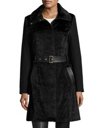 Belle By Badgley Mischka Iris Faux Fur Fit And Flare Coat Black