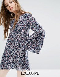 Milk It Vintage Smock Dress In Floral Blue