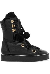 Nicholas Kirkwood Kira Shearling Trimmed Textured Leather Boots Black