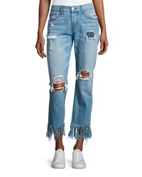 3X1 Wm3 Cropped Straight Leg Fringe Jeans Mazzy Light Blue