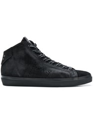 Leather Crown Iconic Hi Tops Black