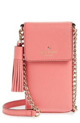Kate Spade New York North South Leather Smartphone Crossbody Bag Pink Coral Pebble