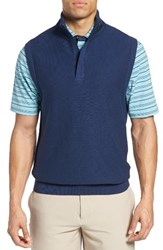 Bobby Jones Men's Pique Jersey Quarter Zip Golf Vest Summer Navy