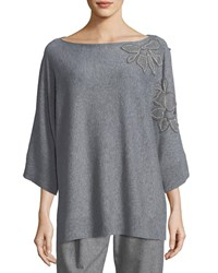 Lafayette 148 New York Vanise Luxe Cashmere Sweater W Chain Trim Floral Applique Nickel Melange