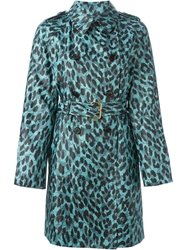 Marc Jacobs Leopard Print Coat Blue