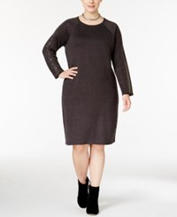 Calvin Klein Plus Size Studded Sweater Dress Charcoal