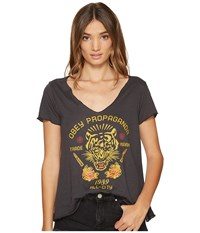 Obey Kiss Me Deadly Tiger Tee Heather Black Women's T Shirt