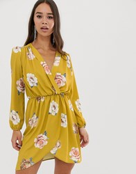 Love Wrap Over Floral Dress In Mustard Yellow