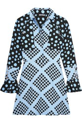 House Of Holland Spotlight Polka Dot Crepe Mini Dress Blue