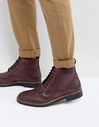 Frank Wright Brogue Boots Burgundy Leather Red