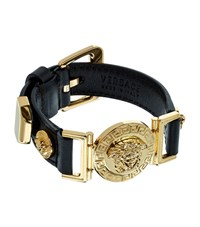 Versace Medusa Leather Strap Bracelet Unisex Black