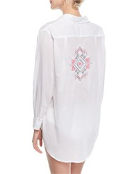 Letarte Button Front Long Sleeve Gauze Coverup Shirt W Embroidery White