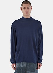 Kolor Roll Neck Tactile Knit Sweater Navy