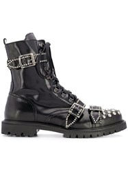 Christian Pellizzari Studded Buckled Ankle Boots Black