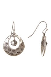 Joe Fresh Hammered Metal And Bead Earrings Metallic