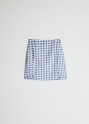 Farrow Nora Check Skirt In Blue Size Extra Small 100 Cotton