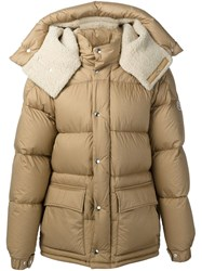 Moncler Shearling Lined Padded Jacket Brown