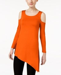 Cable And Gauge Asymmetrical Cold Shoulder Top Mandarian Red