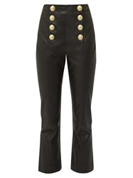 Balmain Buttoned Leather Kick Flare Trousers Black