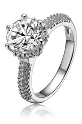 Platinum Plated Sterling Silver Cz Solitaire And Pave Band Ring Metallic