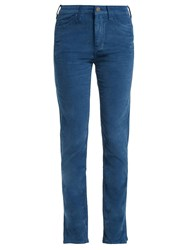 Mih Jeans Daily Straight Leg Velvet Trousers Dark Blue