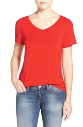 Women's Halogen Modal Jersey V Neck Tee Red Fiery