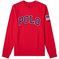 Polo Ralph Lauren Long Sleeve Usa Logo Tee Red