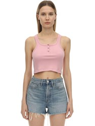 3X1 Jacob Ribbed Jersey Crop Top Pink