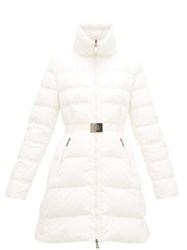 Moncler Accenteur Belted Down Quilted Coat White
