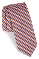 1901 'Caravan' Silk And Cotton Check Tie Orange