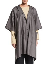 Eskandar Hooded Button Front Raincoat Poncho Elephant