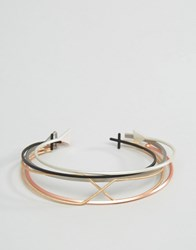 Asos Ditsy Bangle Pack In Mixed Metal Finish Multi