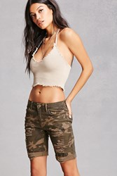 Forever 21 Distressed Camo Print Bermudas Olive Tan