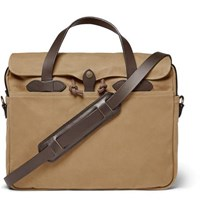 Filson Original Leather Trimmed Twill Briefcase Tan