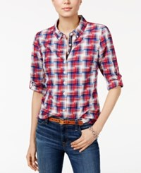 Tommy Hilfiger Roll Tab Plaid Shirt Only At Macy's Scarlet