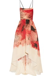 Lela Rose Printed Silk Gazar Gown Red