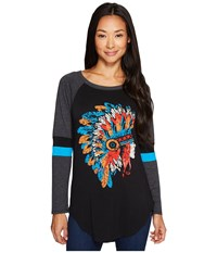 Rock And Roll Cowgirl Long Sleeve Tee 48T3521 Black Women's T Shirt