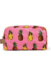 Dolce And Gabbana Canvas Trimmed Printed Shell Cosmetics Case Pink
