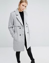 Vila Double Breasted Coat Light Grey Marl