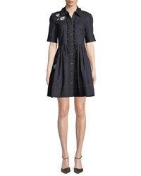 Kate Spade Embroidered Denim Mini Shirt Dress Indigo